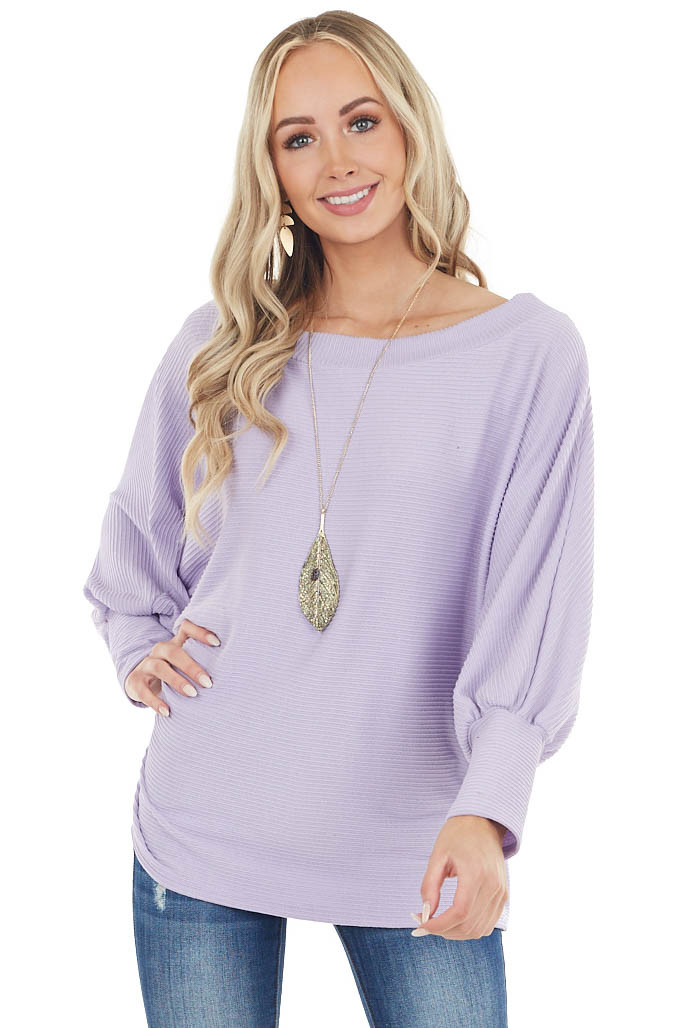 Lavender Oversized Boat Neck Top with Long Dolman Sleeves