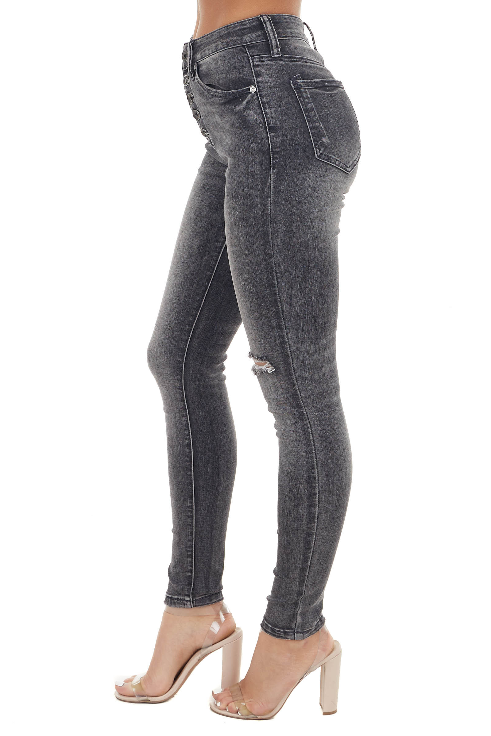 Grey Mid Rise Skinny Button Fly Jeans with Distressed Detail
