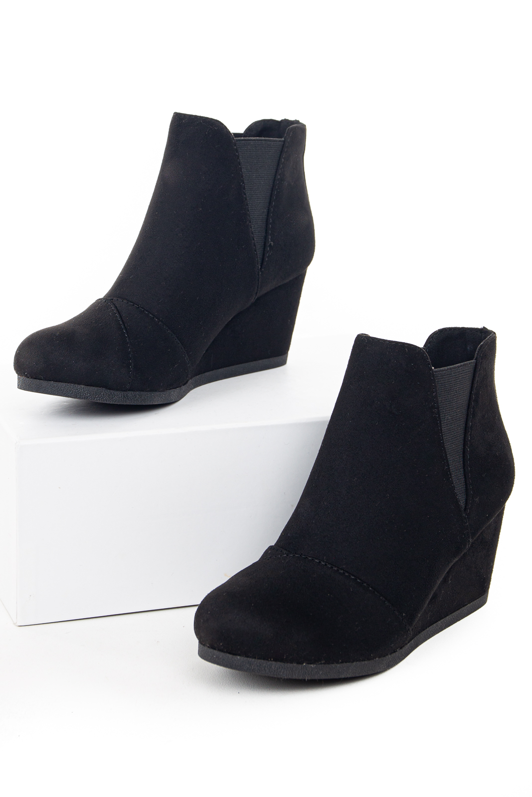 Black Elastic Wedge Heel Booties with Wrapped Detail