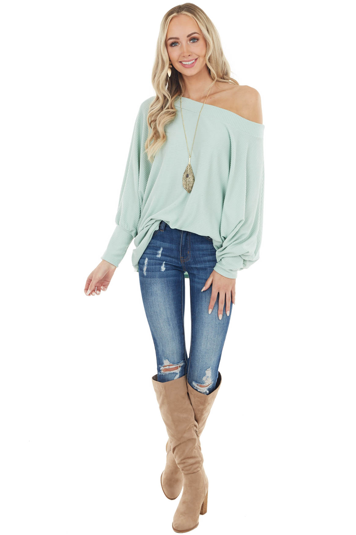 Mint Oversized Boat Neck Top with Long Dolman Sleeves