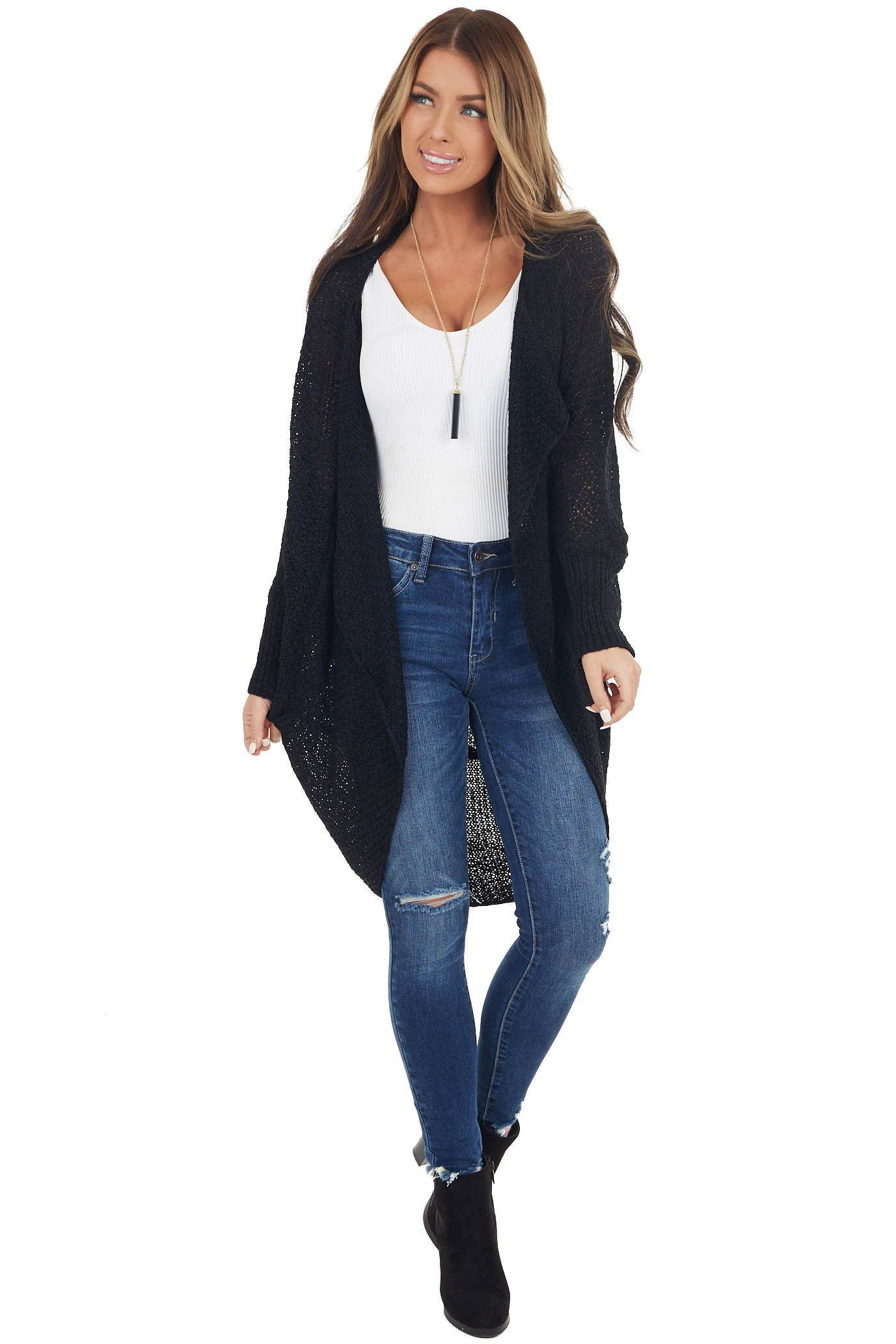 Black Loose Knit Cocoon Cardigan with Dolman Sleeves