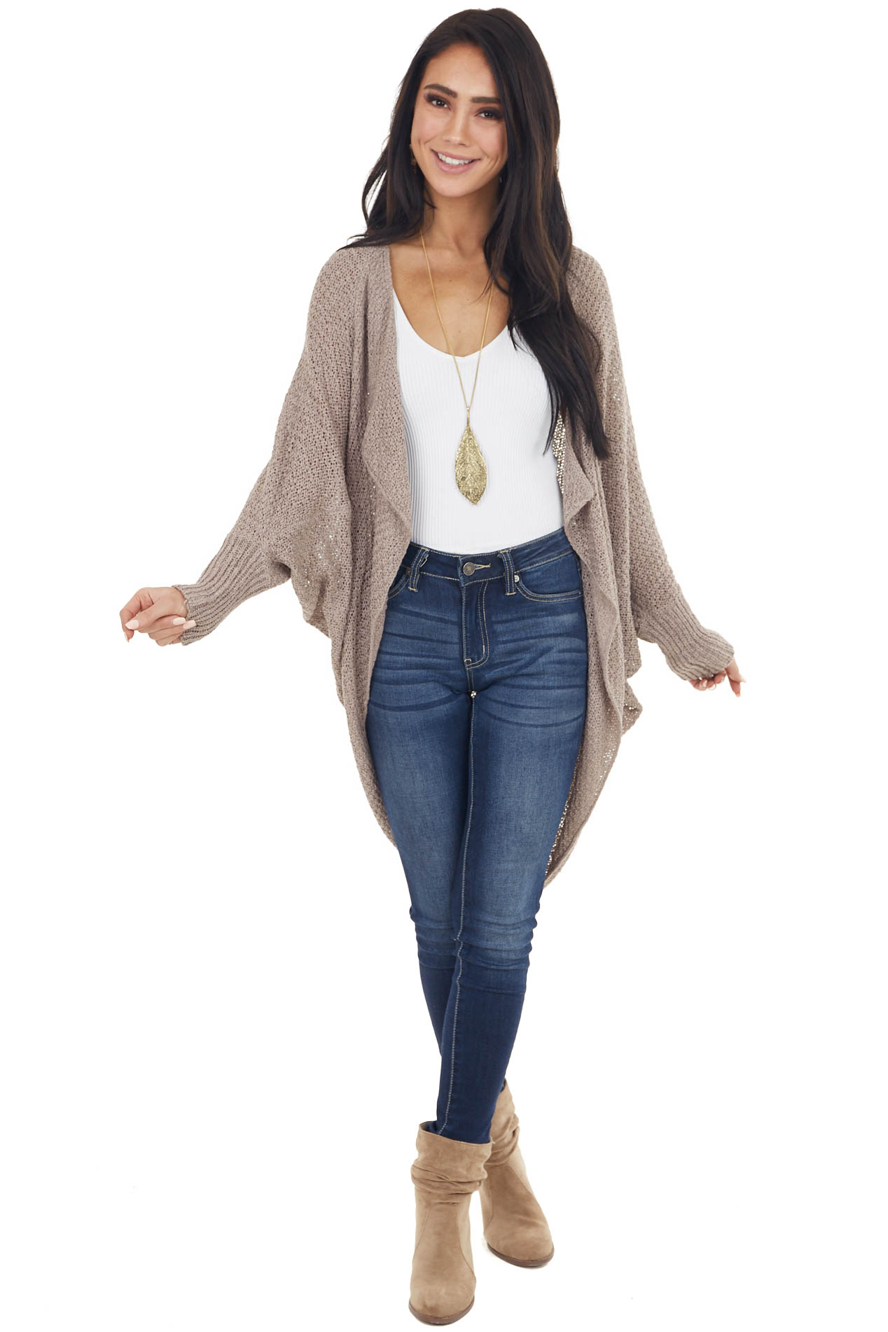 Taupe Loose Knit Cocoon Cardigan with Dolman Sleeves