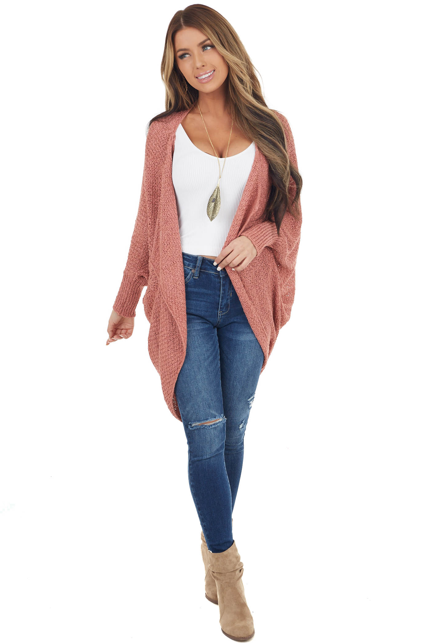 Dusty Salmon Loose Knit Cocoon Cardigan with Dolman Sleeves