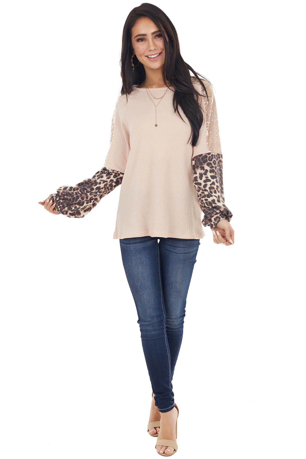 Blush Waffle Knit Top with Sequin and Leopard Print Sleeves