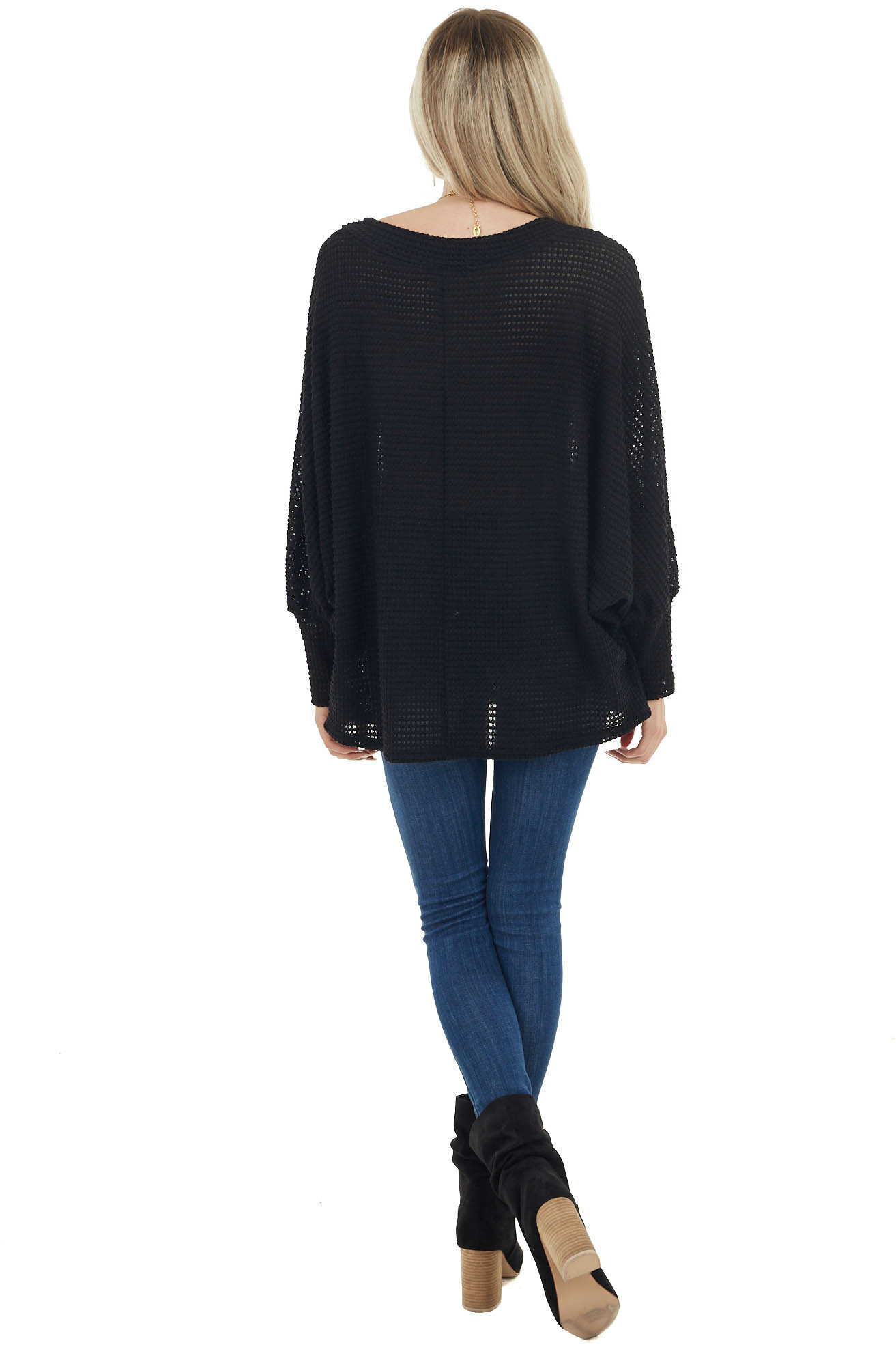 Black Oversized Waffle Knit Top with Long Dolman Sleeves