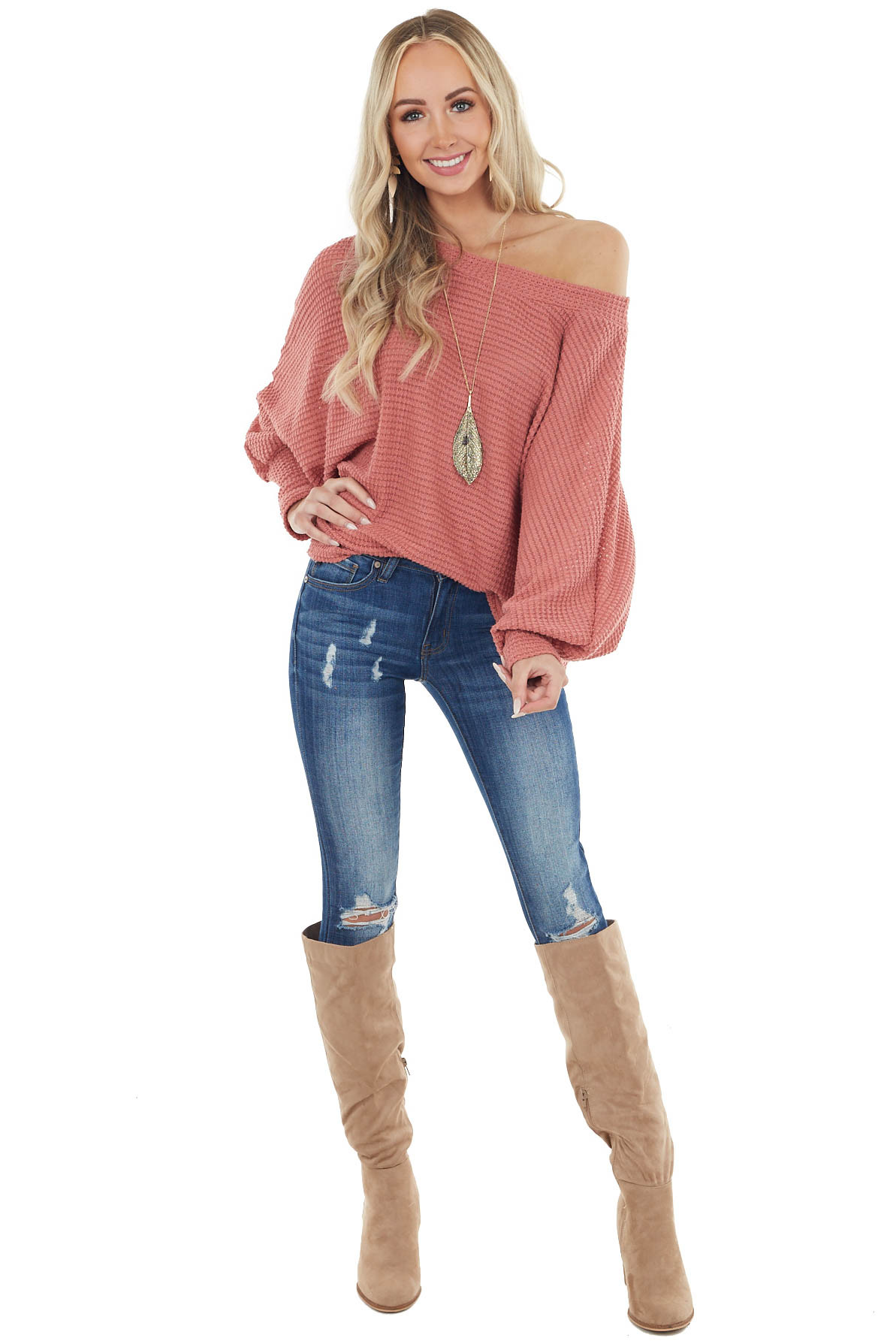 Dark Coral Oversize Waffle Knit Top with Long Dolman Sleeves