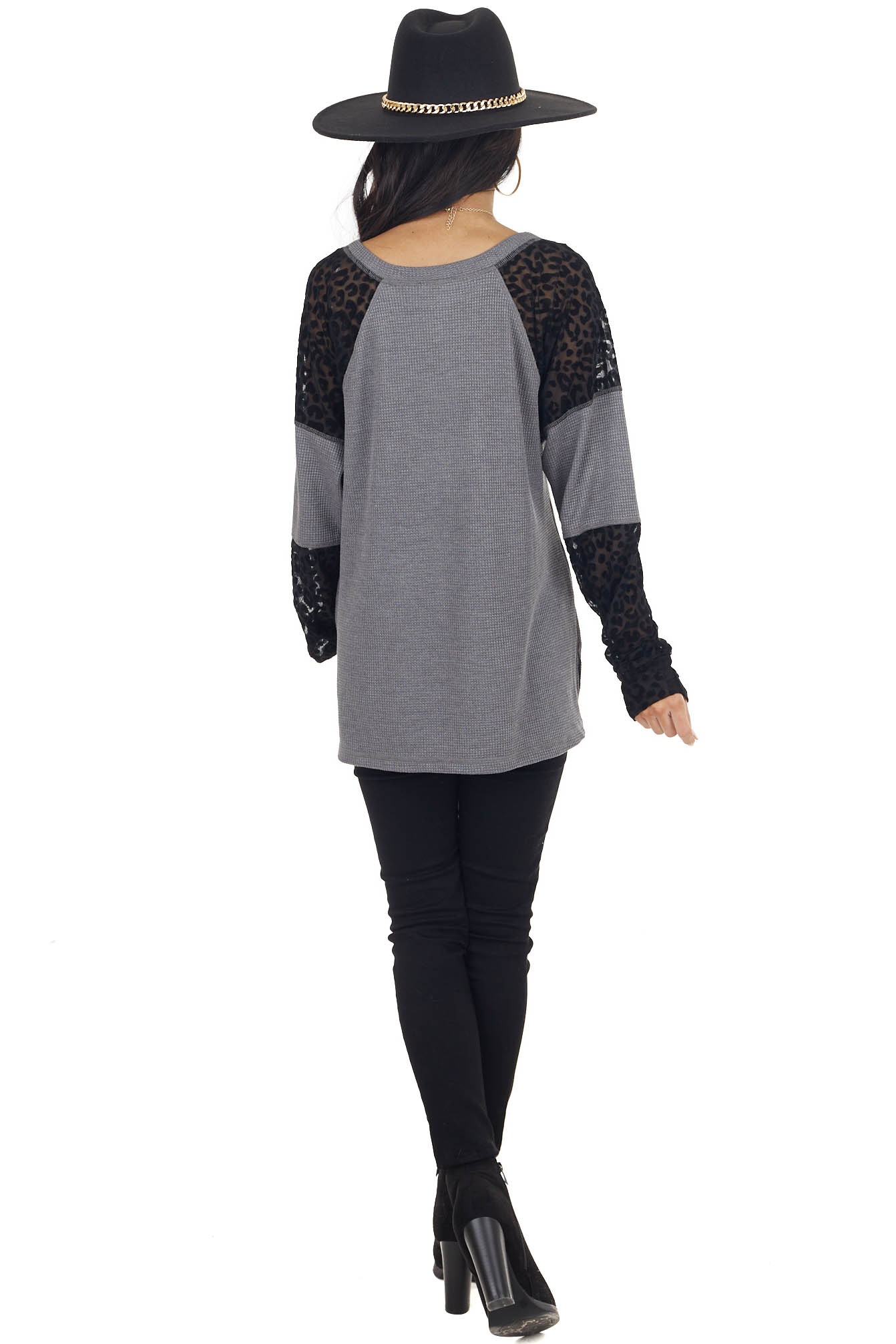 Stone Grey Knit Top with Mesh Textured Leopard Print Sleeves