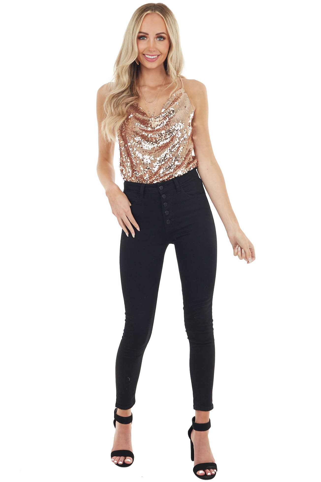 Dusty Rose Sequin Sleeveless Top with Draped Neckline