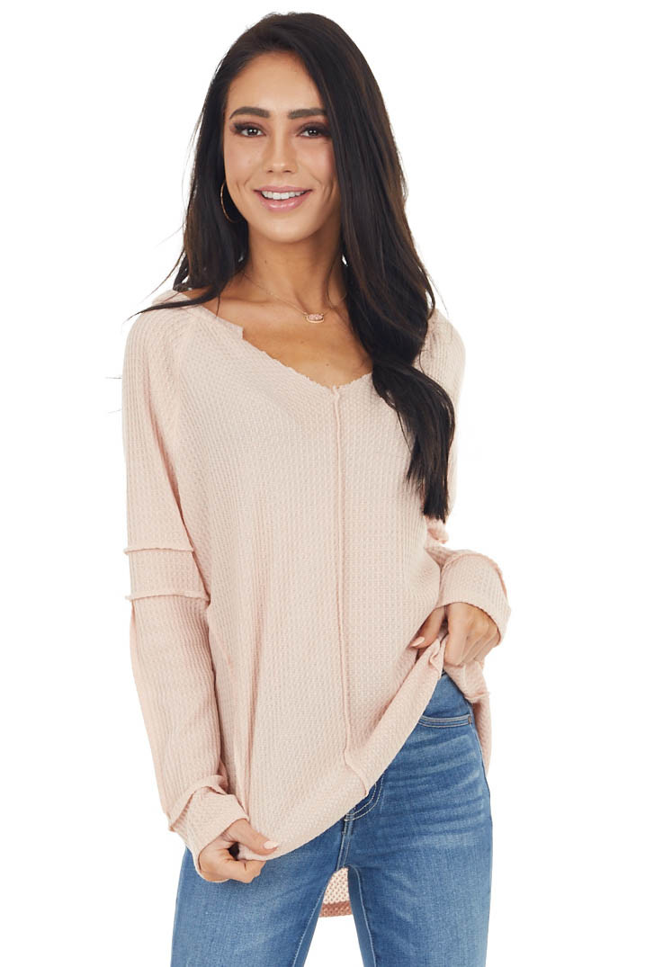 Blush Waffle Knit Notch Neck Top with Reverse Seam Details