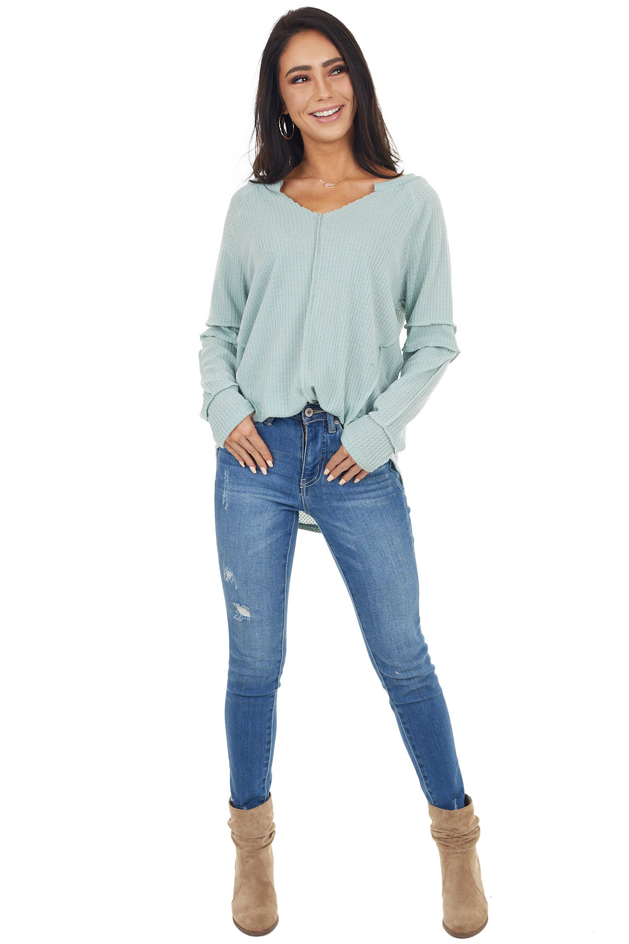 Seafoam Waffle Knit Notch Neck Top with Reverse Seam Details