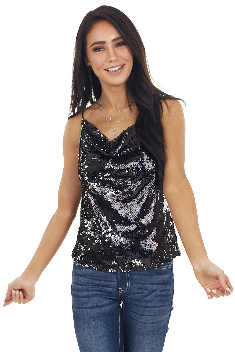 Black Sequin Sleeveless Top with Draped Neckline