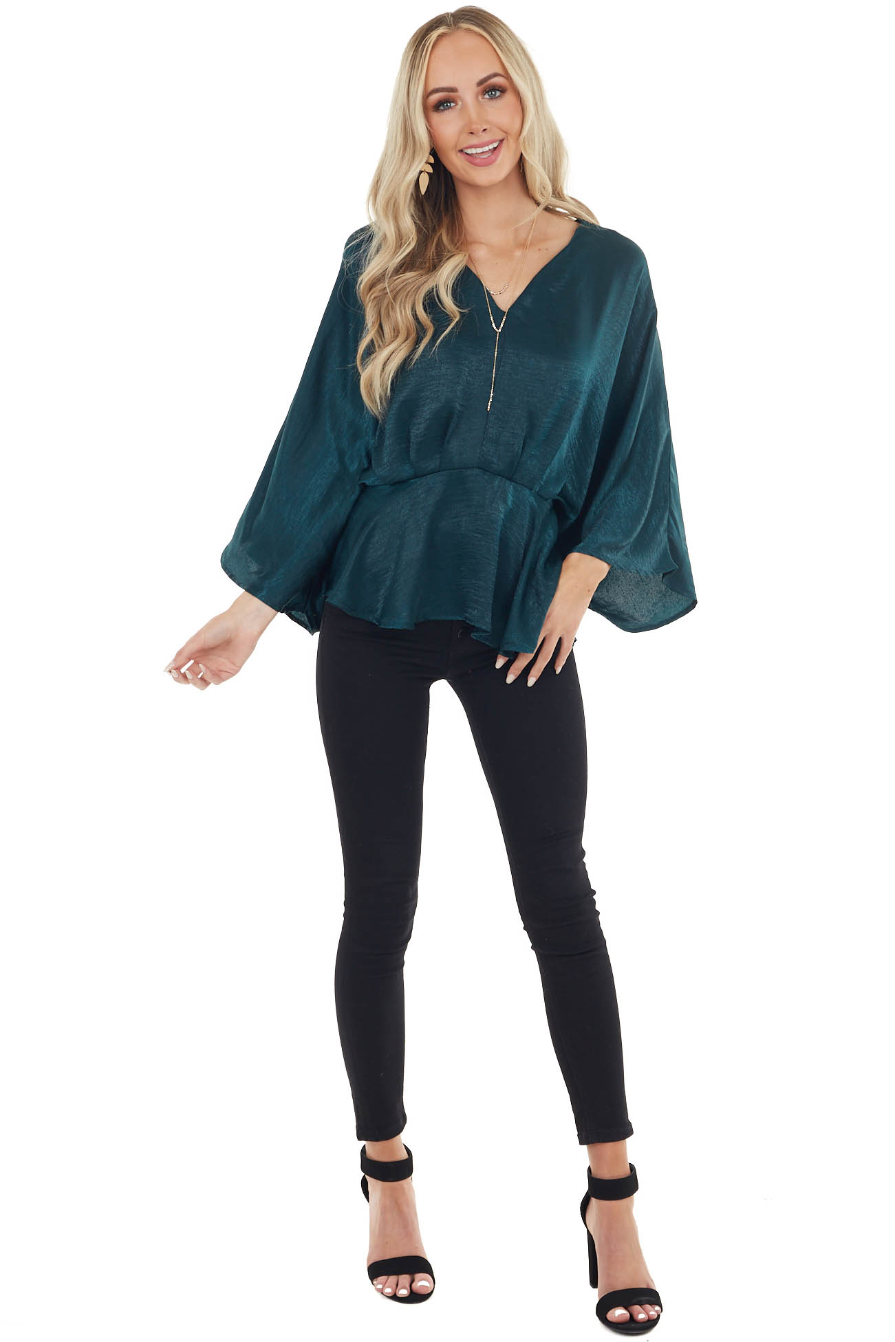Forest Green Satin Flowy Drop Waist Blouse with V Neckline