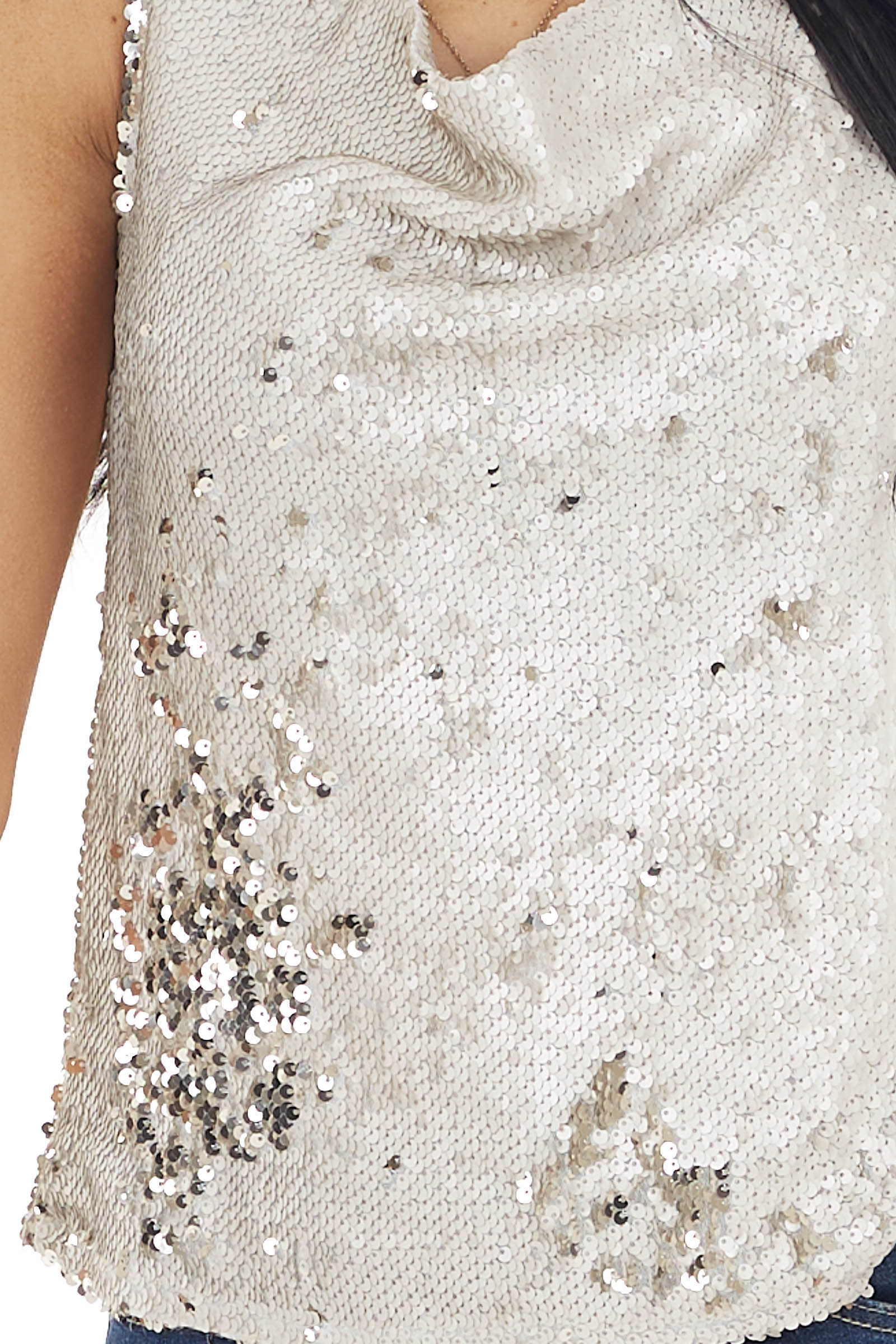 Champagne Sequin Sleeveless Top with Draped Neckline