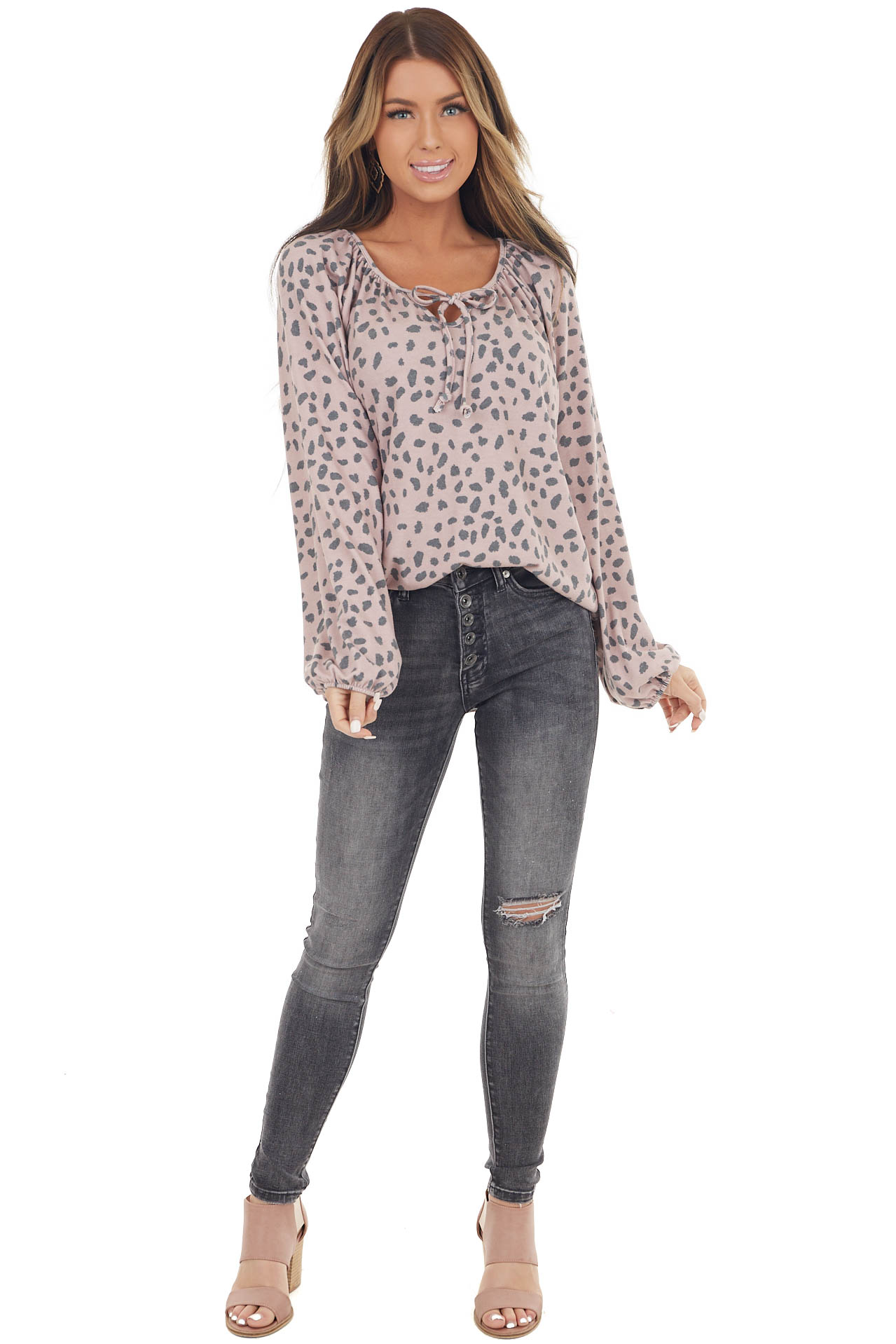 Dusty Rose and Grey Cheetah Print Puff Sleeve Peasant Top
