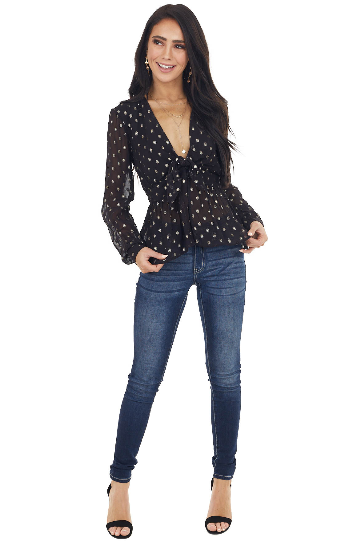 Black and Gold Polka Dot Print Peplum Blouse with Front Tie