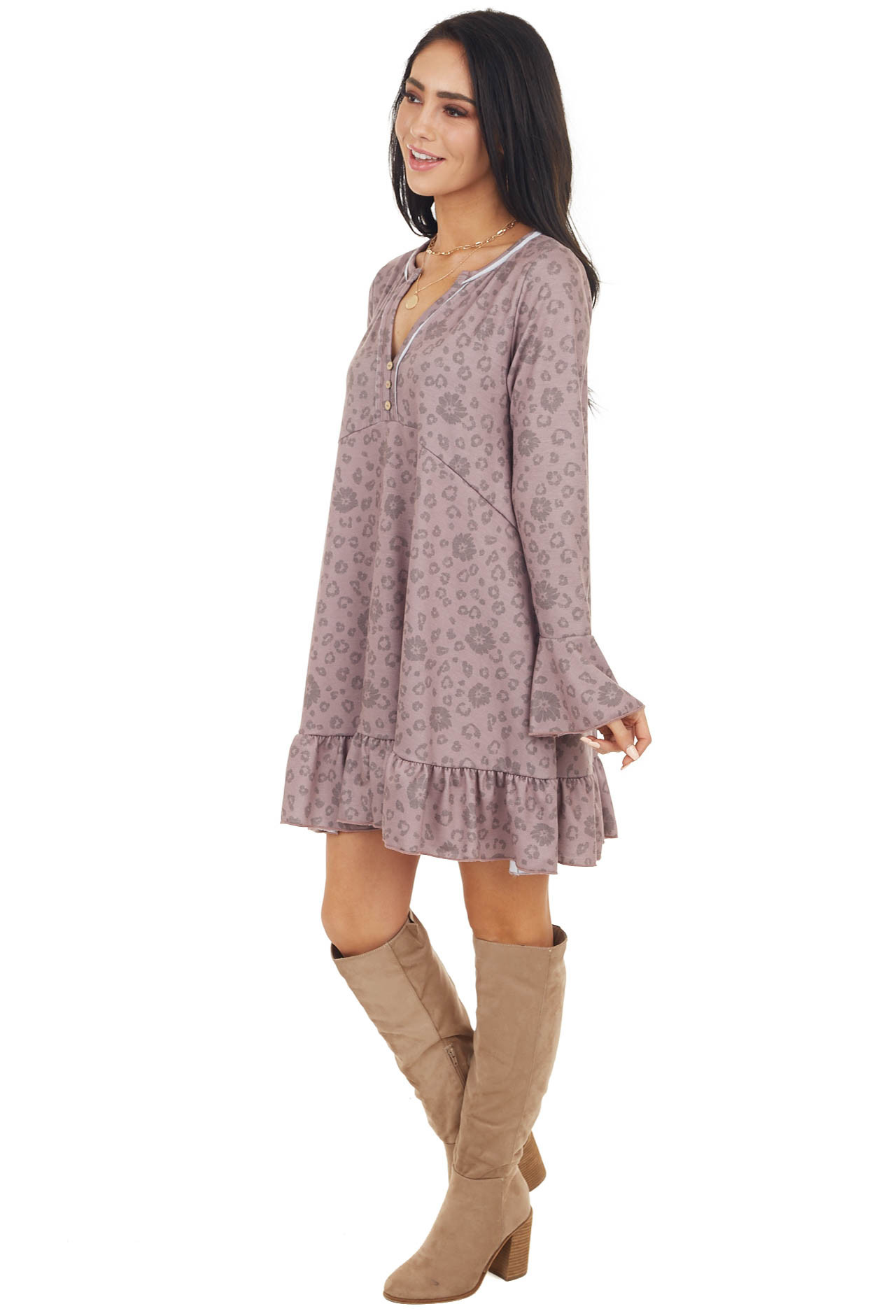 Dusty Rose Floral and Leopard Print Ruffle Babydoll Dress