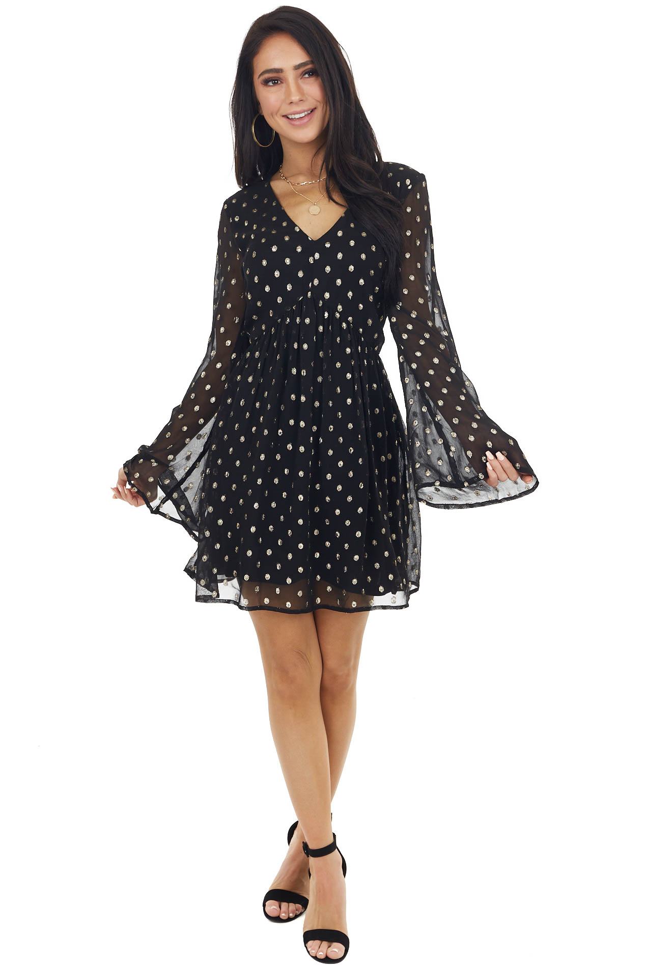 Black and Gold Polka Dot Print Short Dress with Bell Sleeves