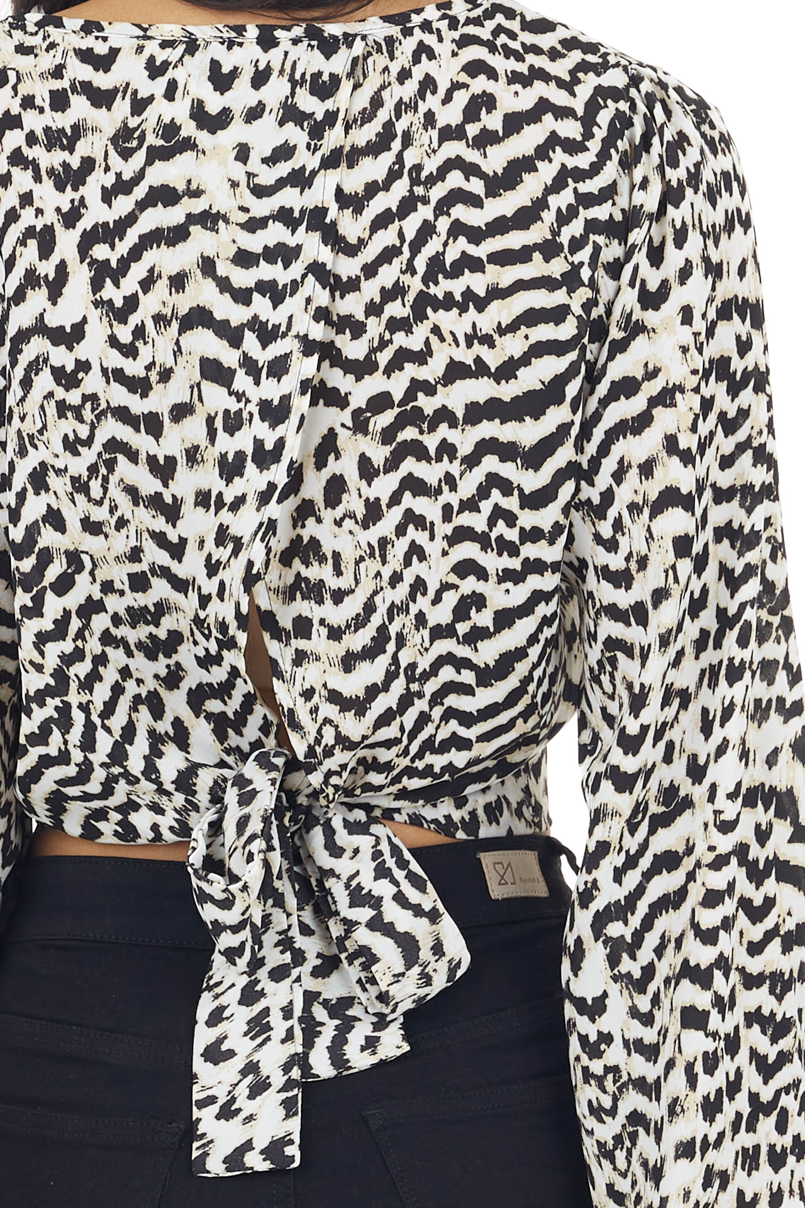 Black and Ivory Animal Print Cropped Blouse with Open Back