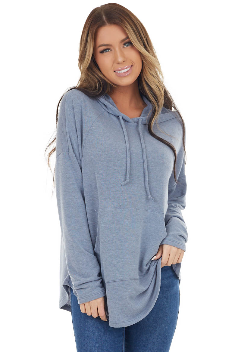 Slate Knit Hoodie with Kangaroo Pocket and Drawstrings