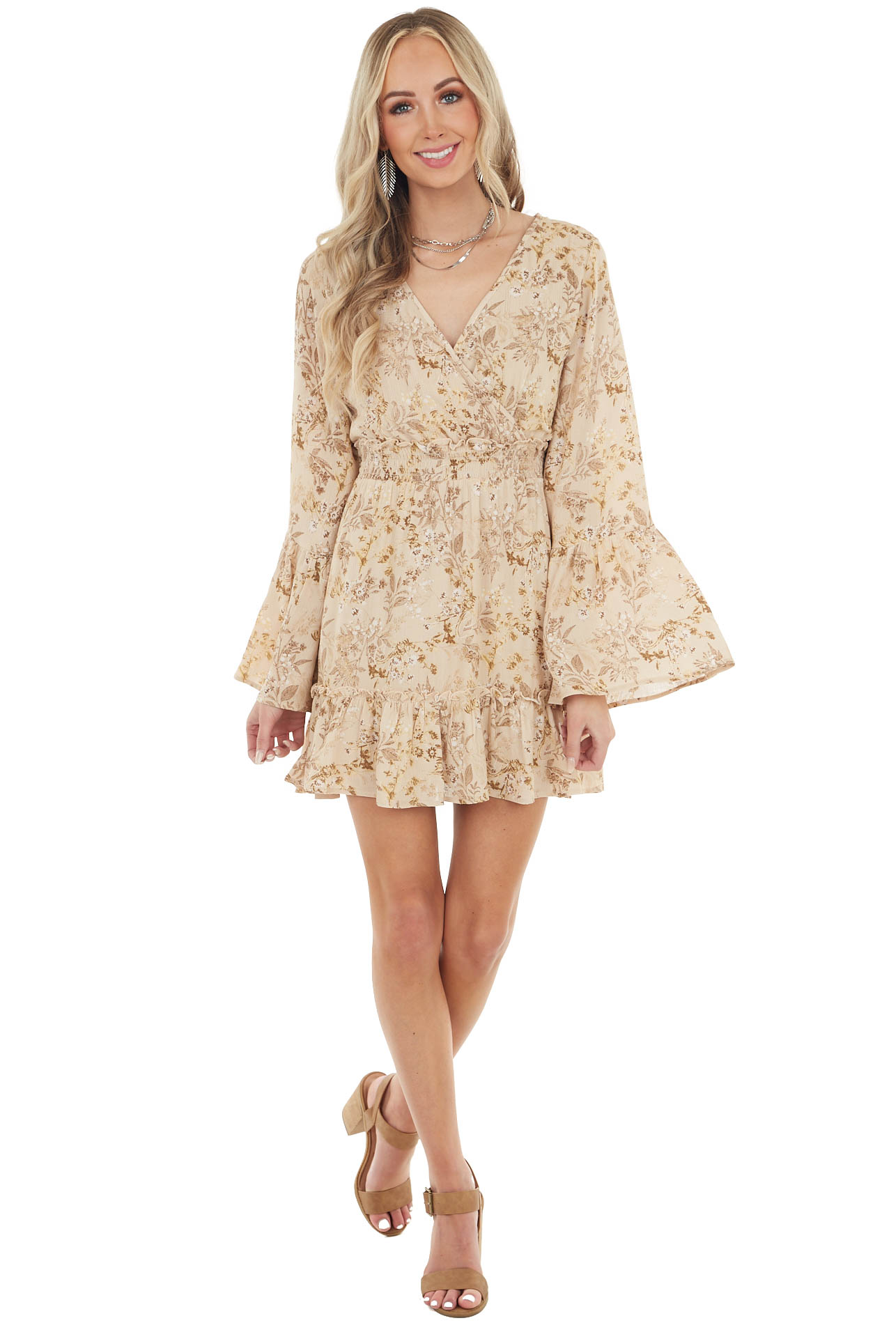Beige Floral Print Ruffle Short Dress with Long Bell Sleeves