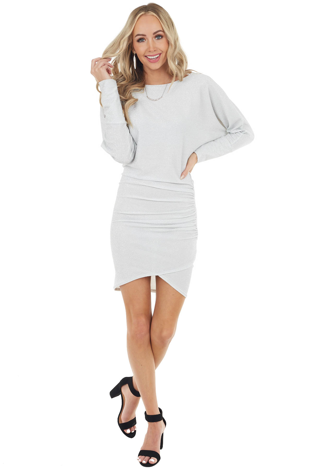 Dove Grey and Silver Tulip Hem Dress with Side Ruching