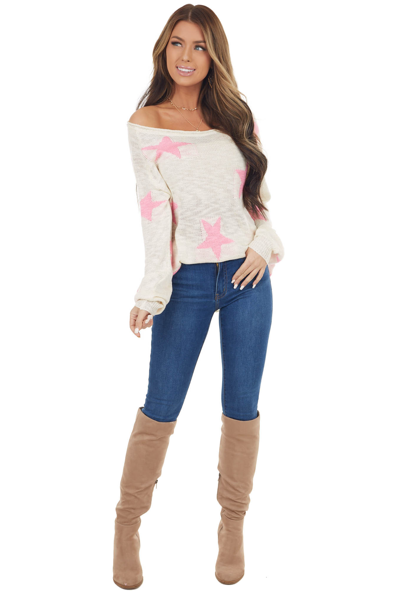 Cream and Hot Pink Star Print Knit Sweater with Ribbed Cuffs