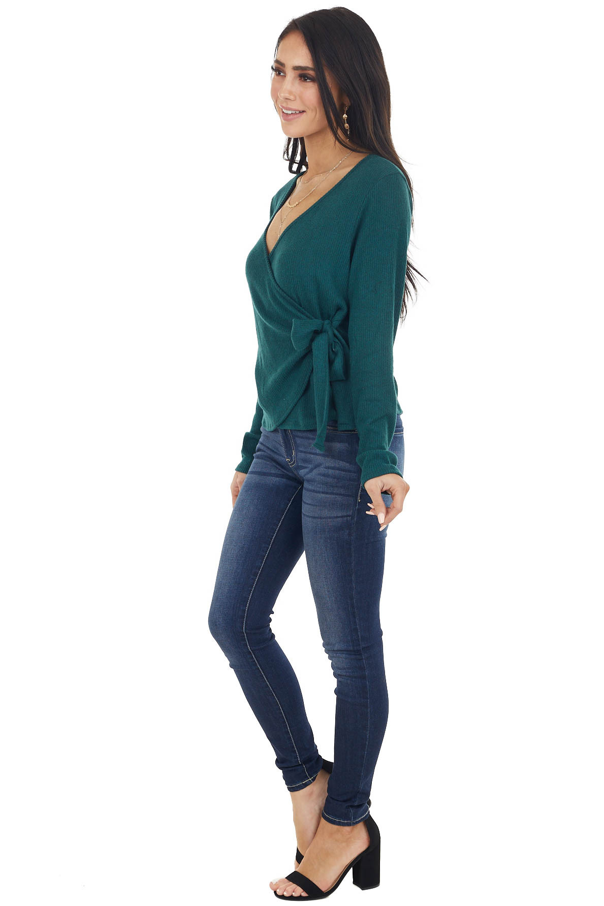 Pine Brushed Ribbed Knit Wrapped Surplice Top with Tie