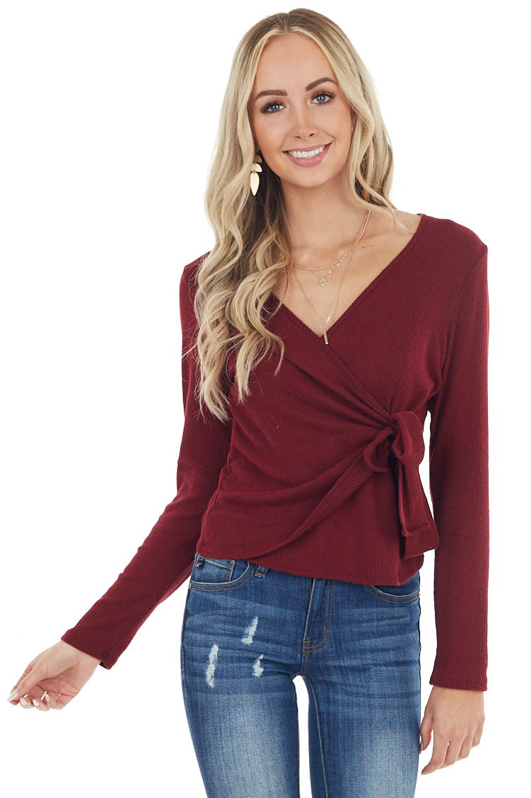 Wine Wrapped Surplice Lightweight Ribbed Sweater with Tie