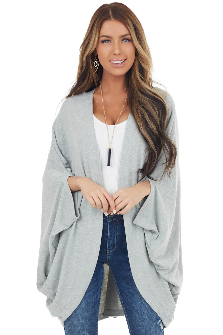 Heathered Grey Open Front Cardigan with Half Dolman Sleeves