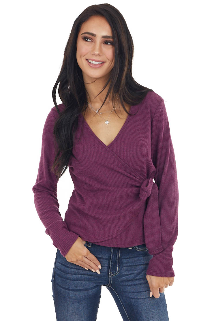 Plum Brushed Ribbed Knit Wrapped Surplice Sweater with Tie