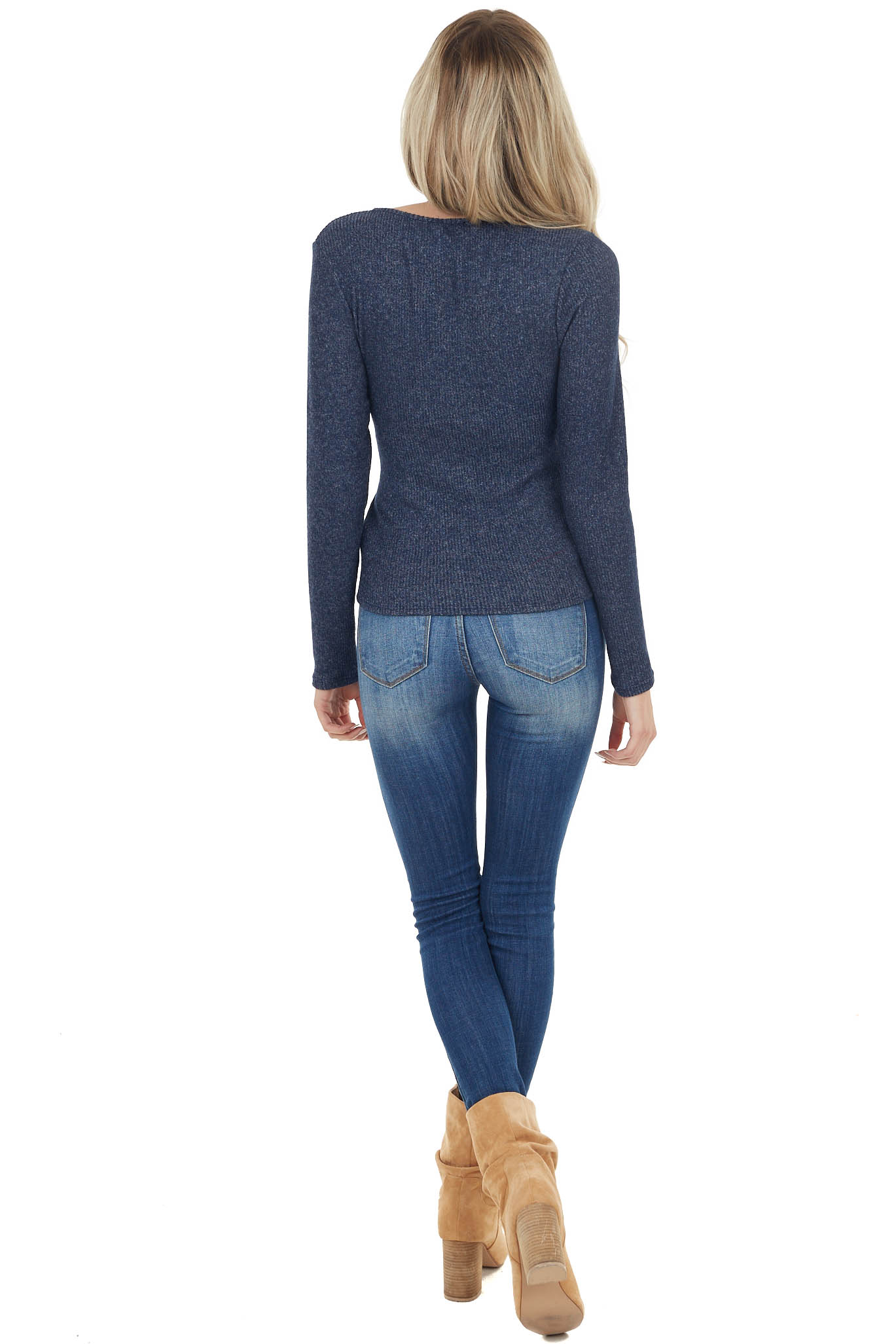 Navy Brushed Ribbed Knit Wrapped Surplice Sweater with Tie