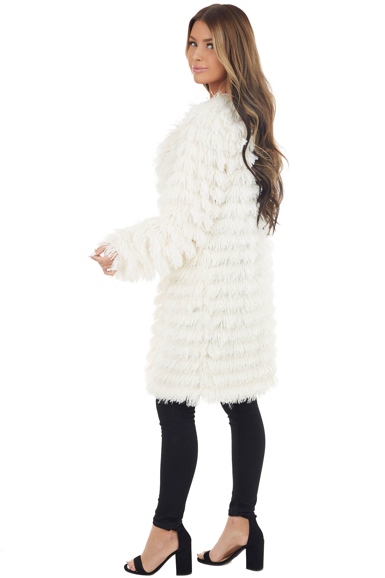 Ivory Faux Fur Long Sleeve Jacket with Front Pockets