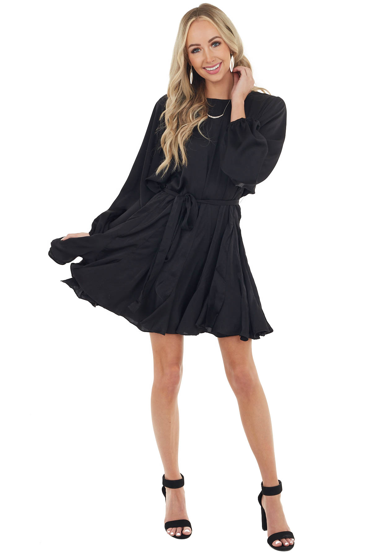 Black Satin Swing Dress with Long Sleeves and Front Tie
