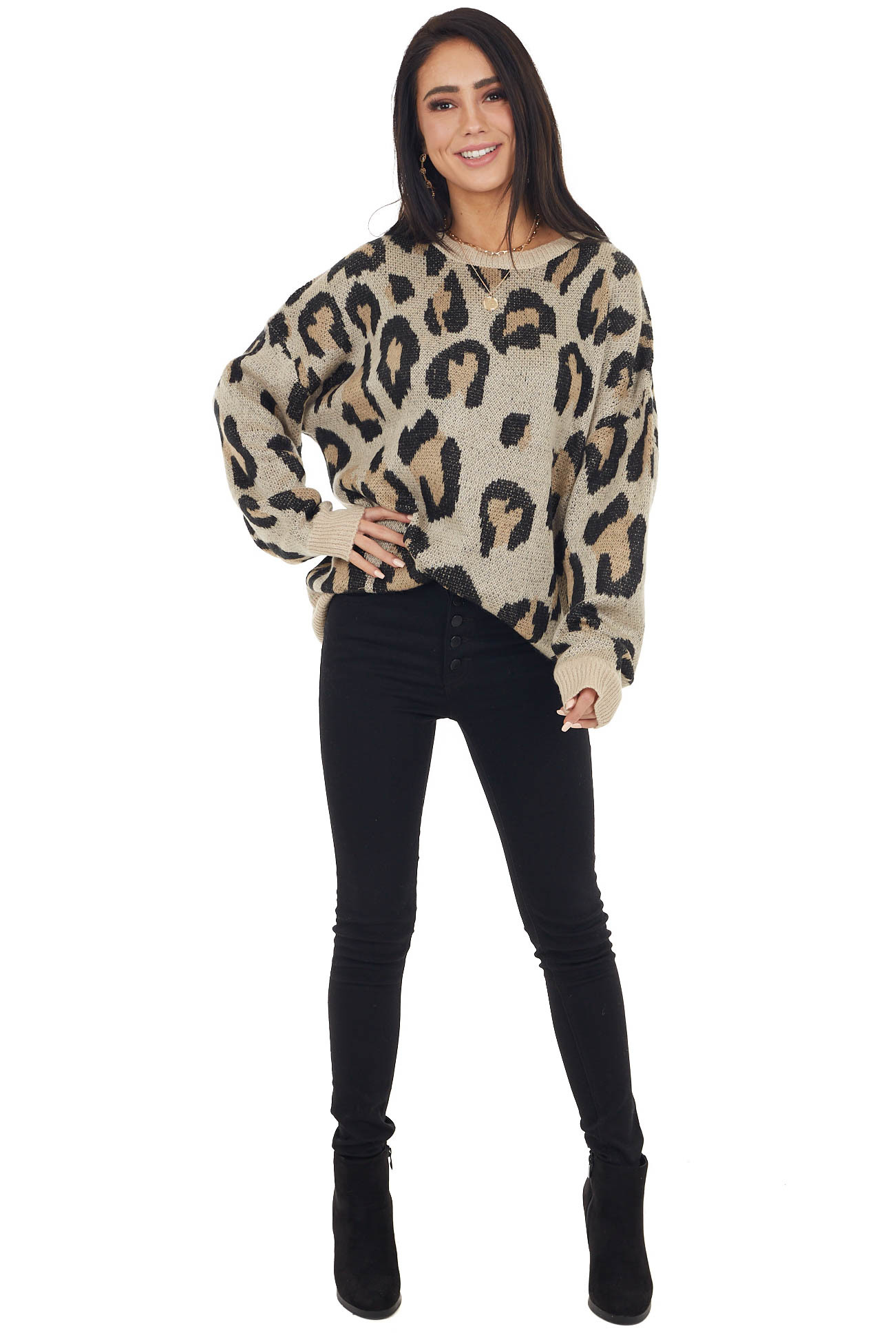 Latte Leopard Print Knit Sweater with Ribbed Details