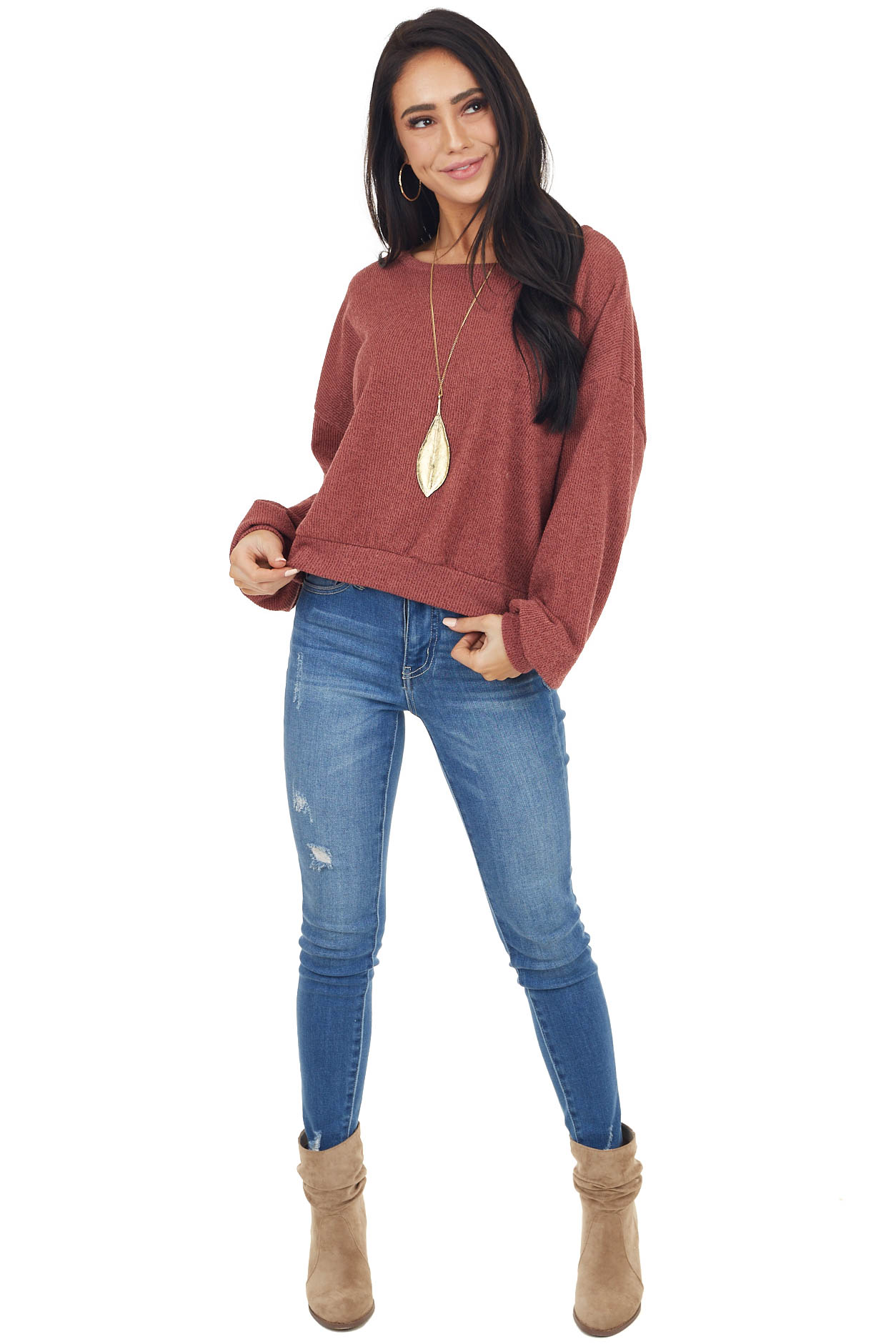 Marsala Ribbed Knit Puff Sleeve Top with Open Back and Tie