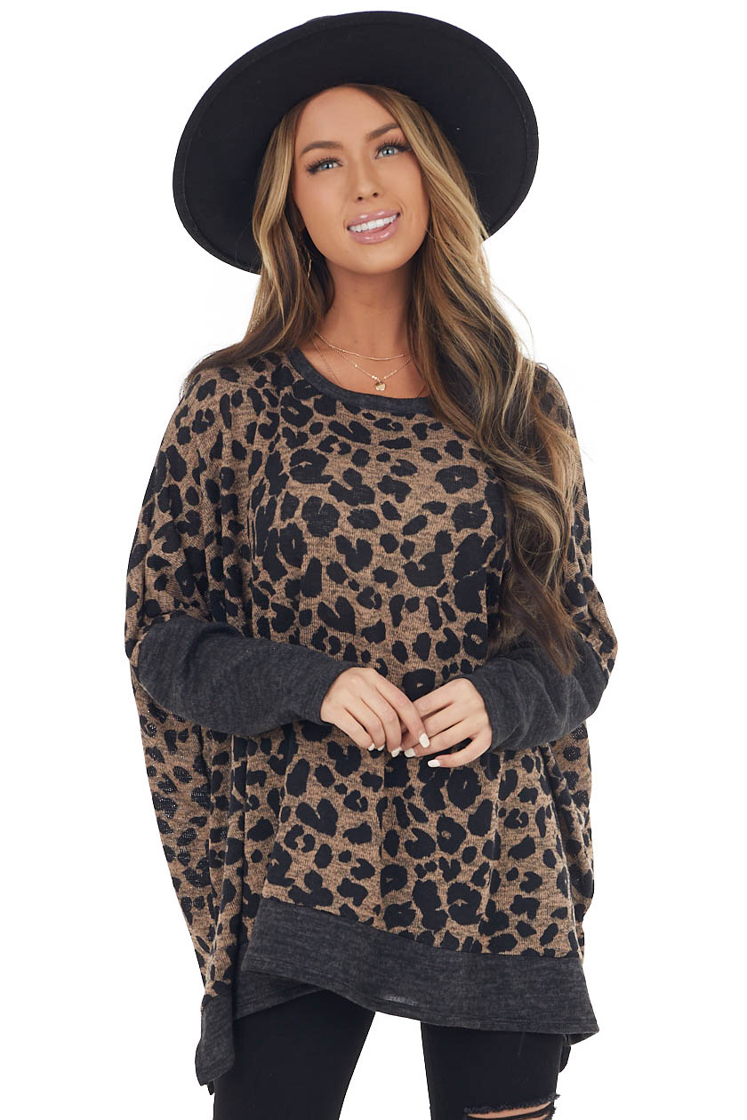 Latte Leopard Print Long Sleeve Knit Top with Side Slits