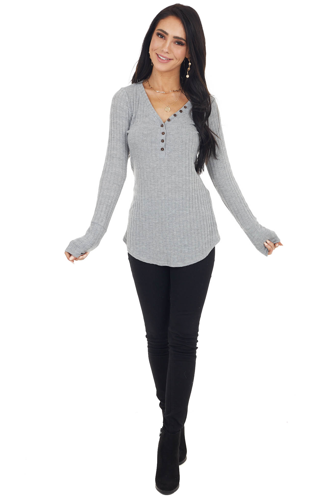 Heather Grey Long Sleeve Ribbed Knit Top with Button Detail