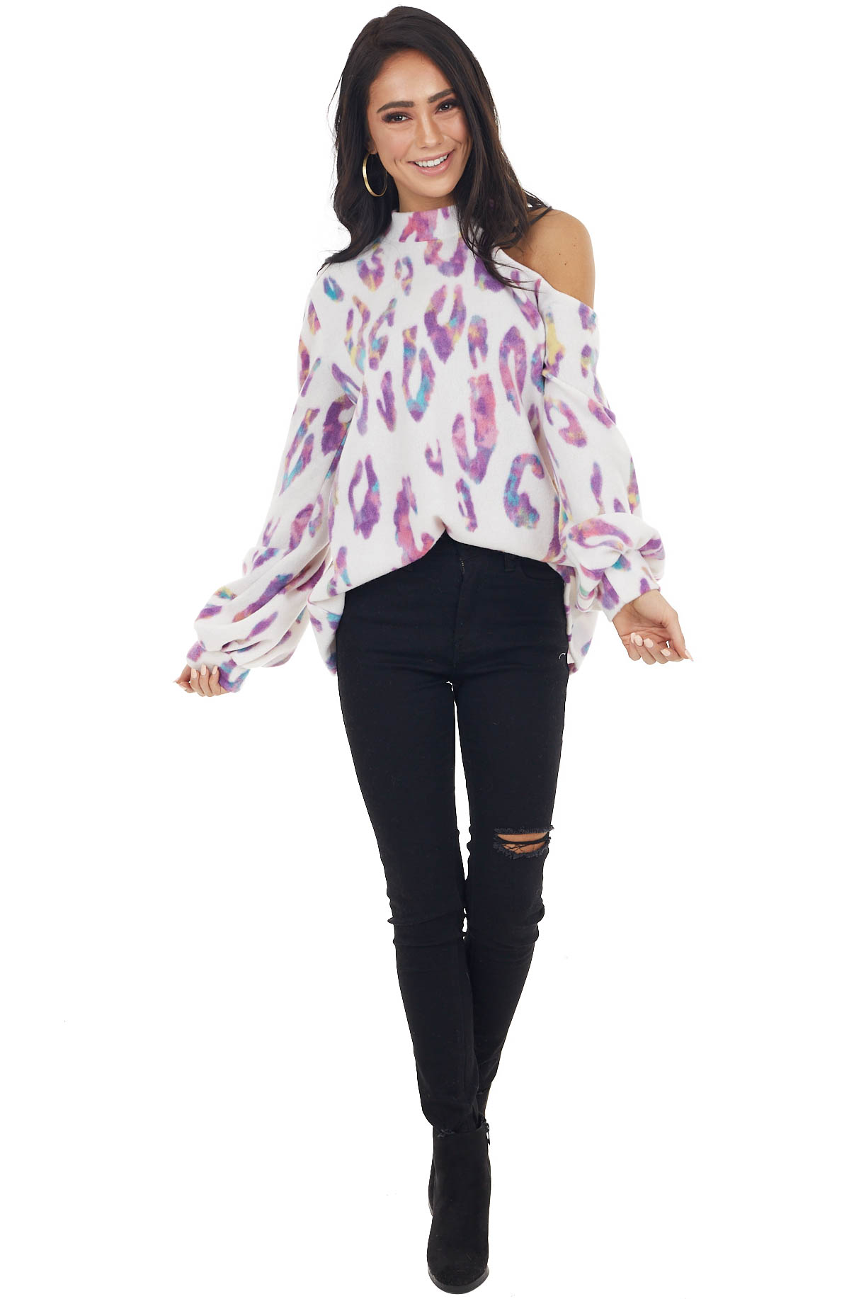 Ivory Multicolor Leopard Print Top with Shoulder Cut Out