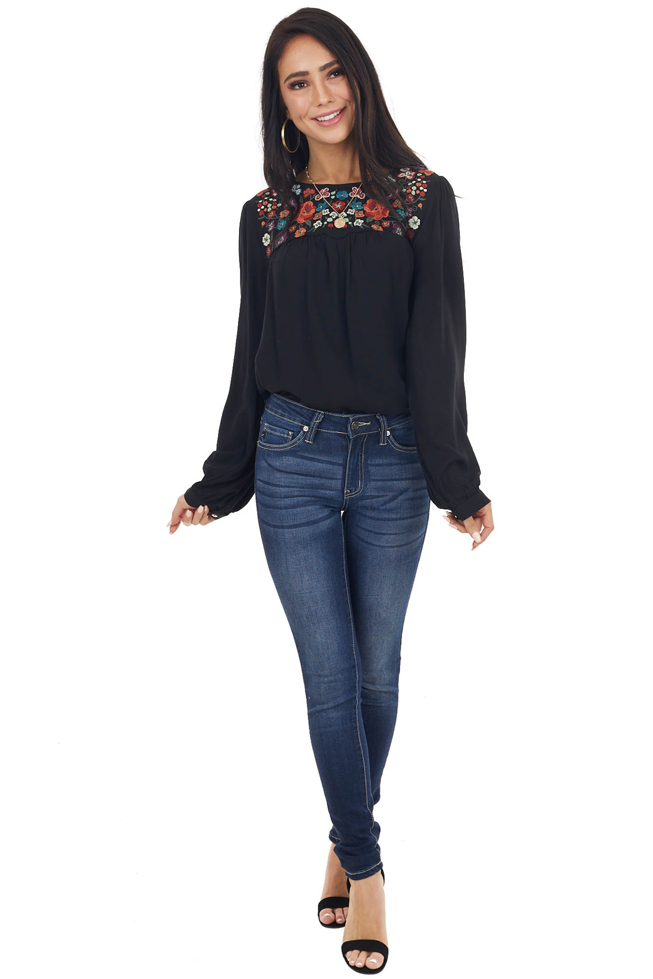 Black Long Sleeve Flowy Top with Floral Embroidery