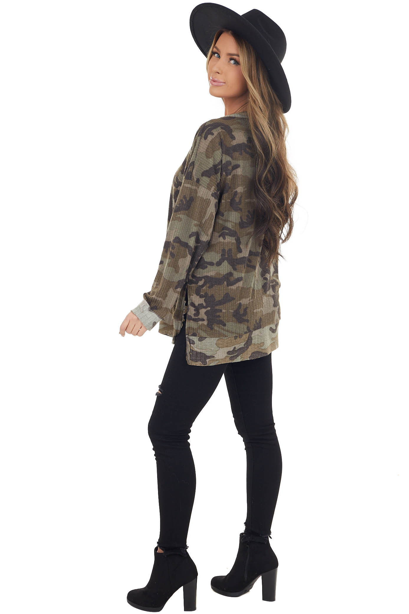 Olive Camo Waffle Knit Long Sleeve Top with Side Slits