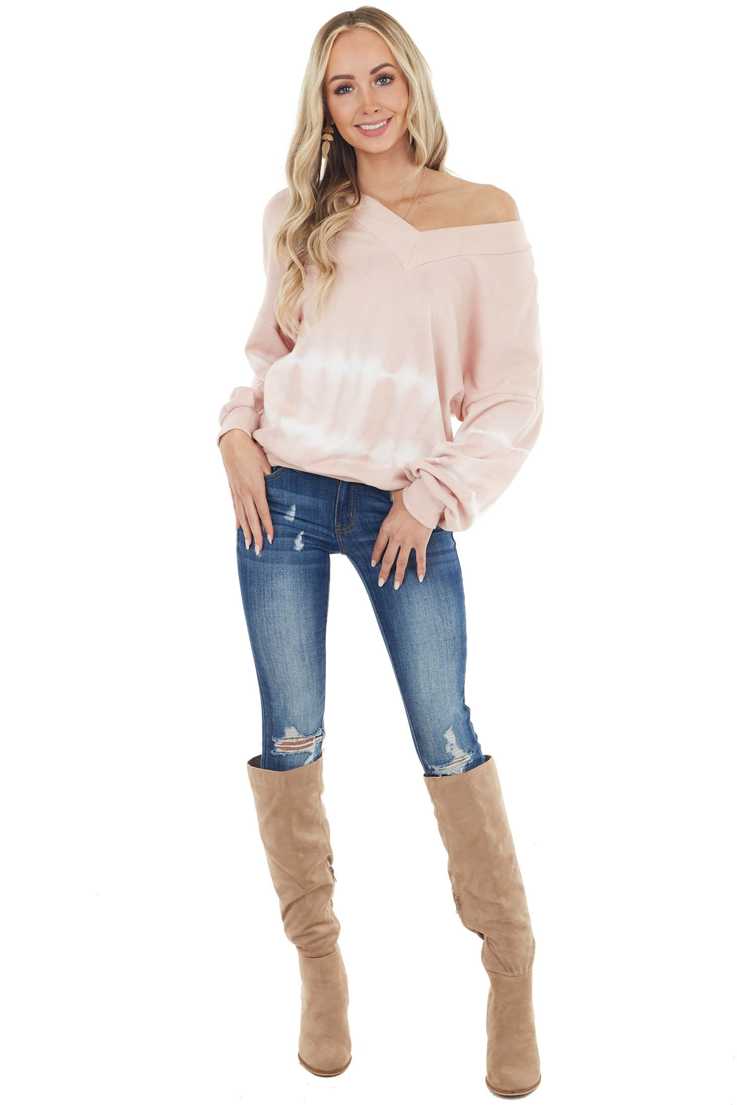 Blush Tie Dye Sweatshirt with Front and Back V Neckline