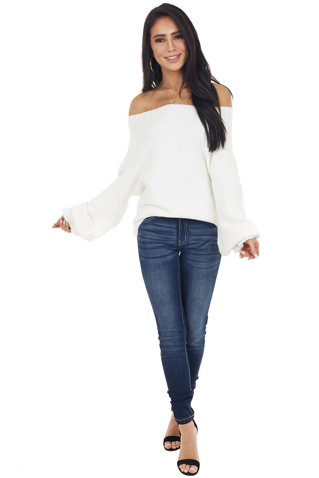 Cream Off Shoulder Sweater with Long Ruffle Bubble Sleeves