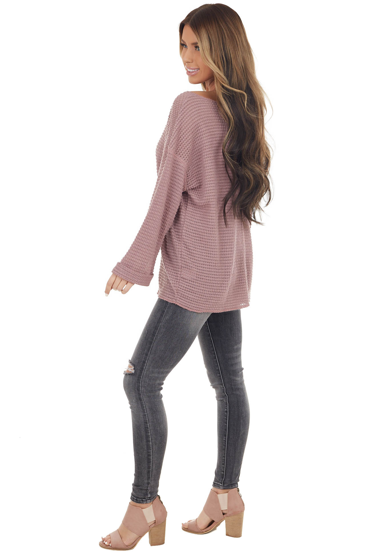Dusty Rose Waffle Knit Notch Neck Top with Loose Long Sleeves