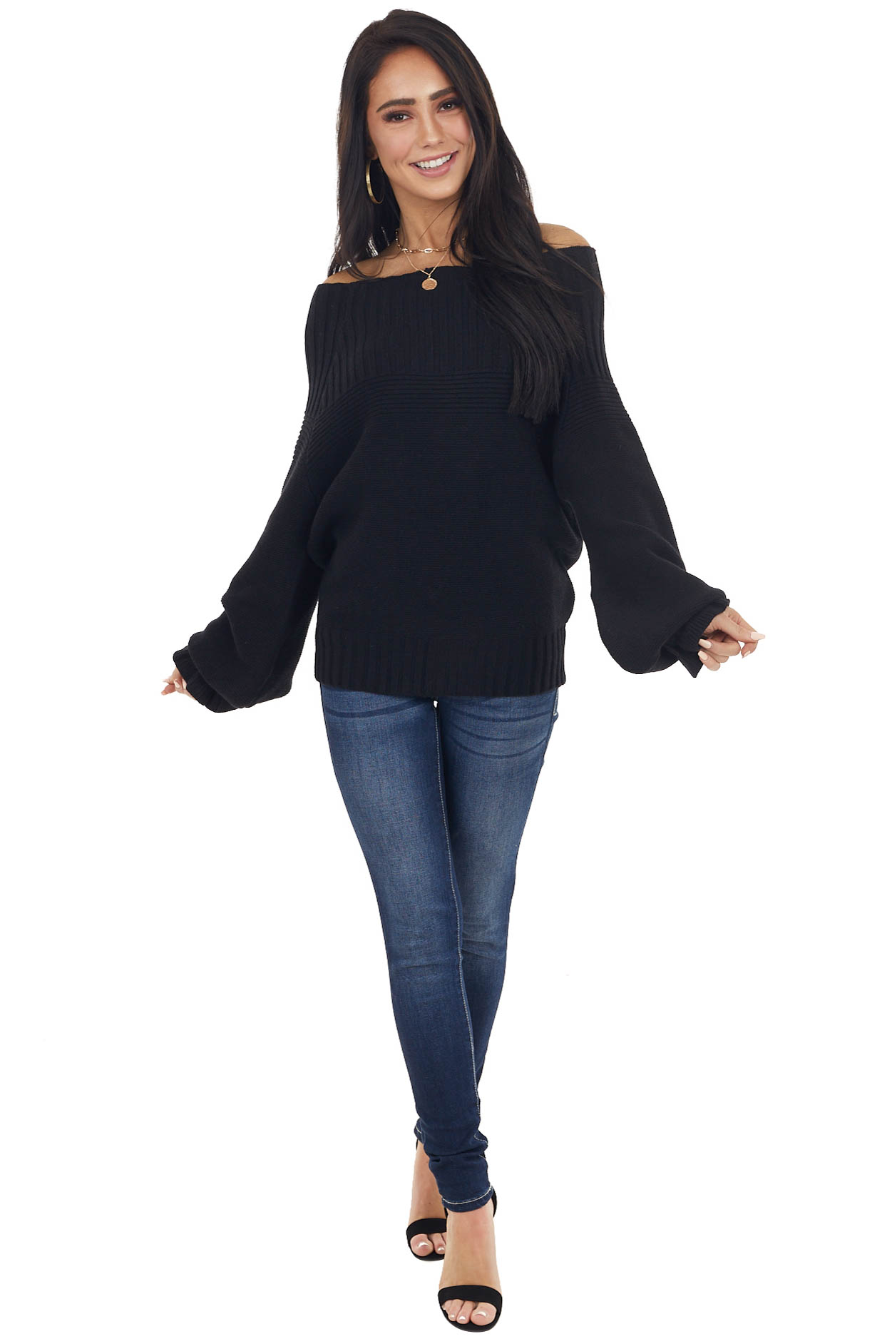 Black Off Shoulder Sweater with Long Ruffle Bubble Sleeves