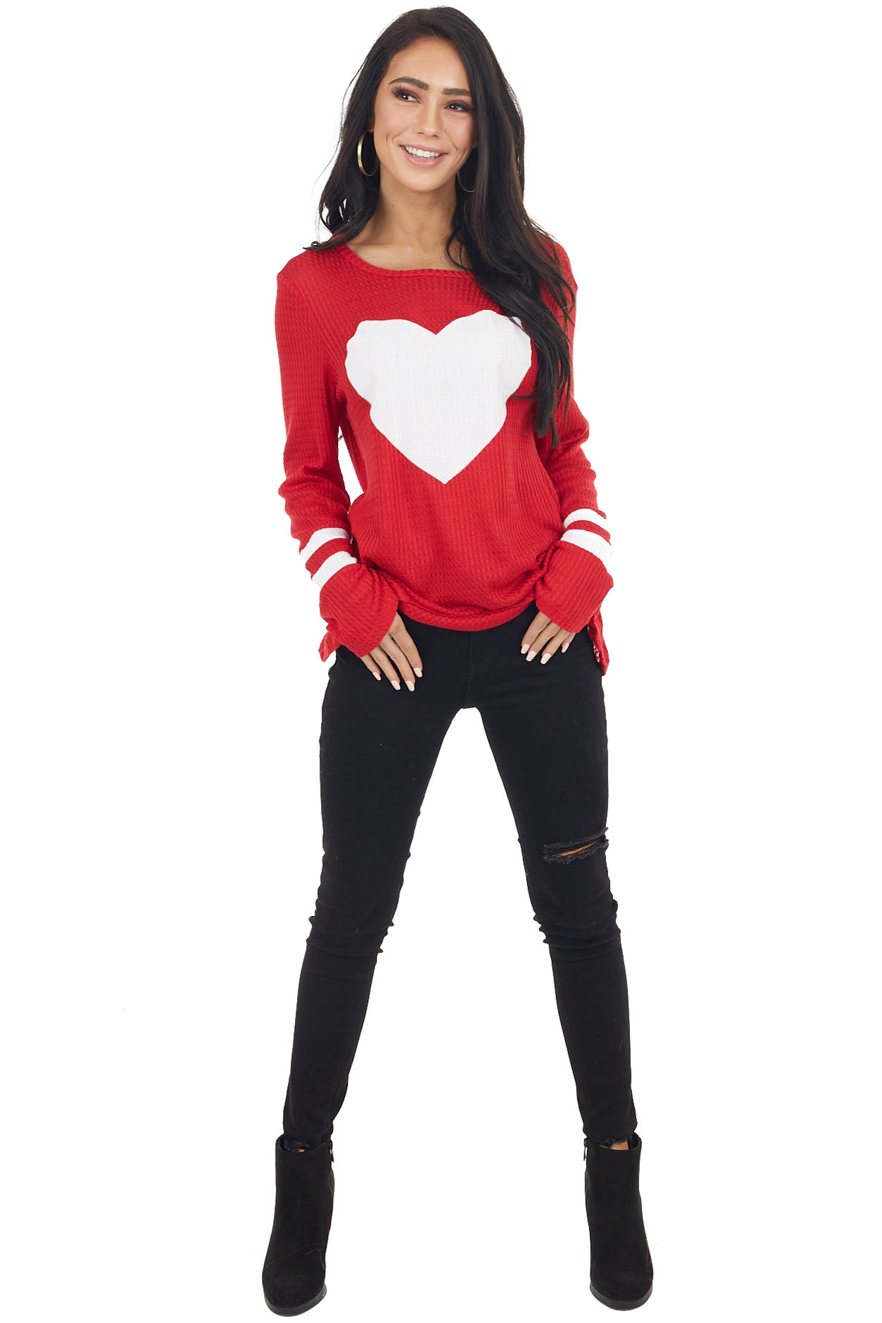 Ruby Red Waffle Knit Long Sleeve Top with Heart Print