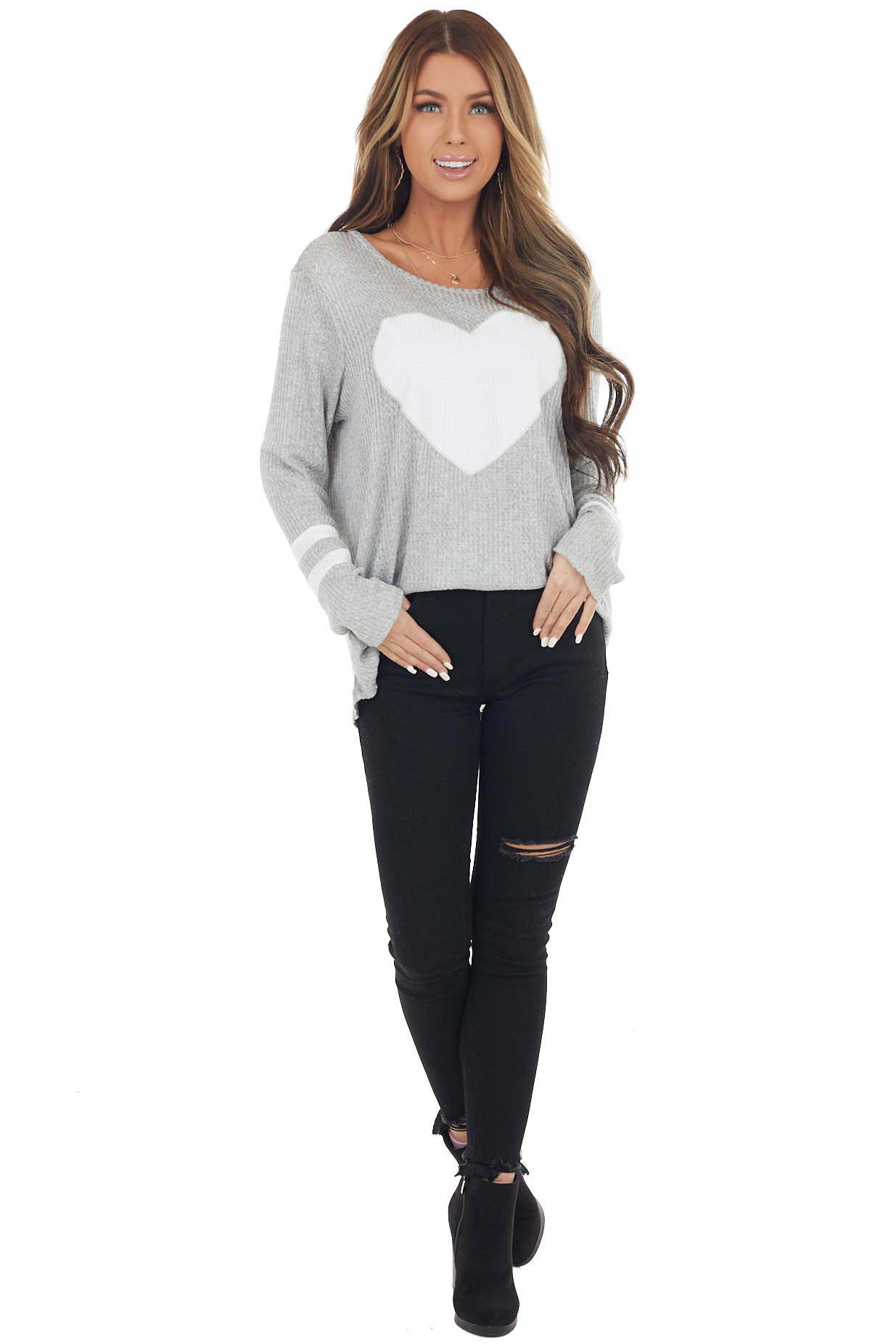 Dove Grey Waffle Knit Long Sleeve Top with Heart Print