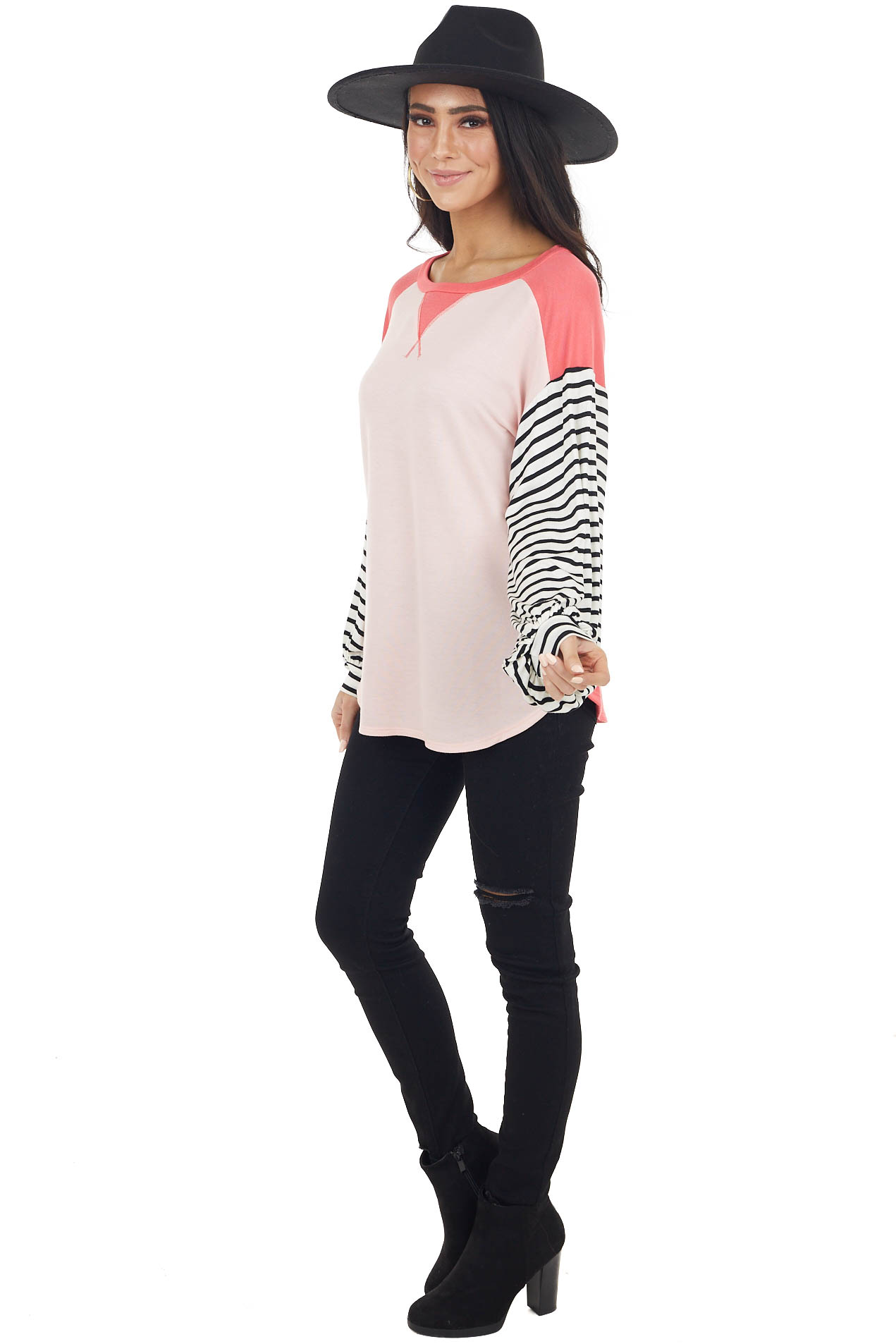 Blush and Coral V Stitch Knit Top with Striped Puff Sleeves