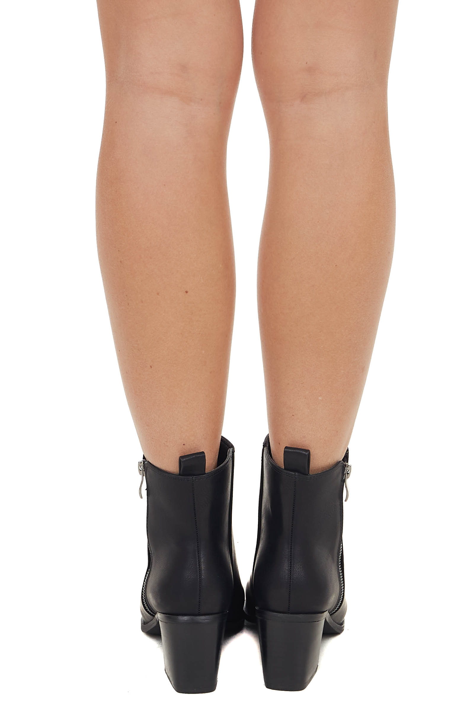 Black High Top Booties with Block Heel and Pointed Toe