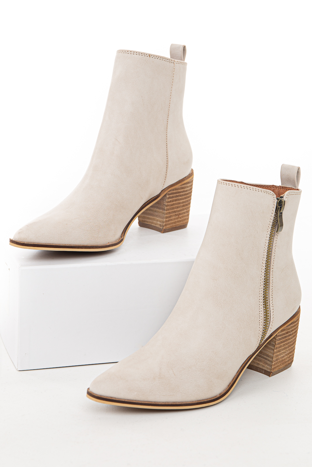Light Grey High Top Booties with Block Heel and Pointed Toe