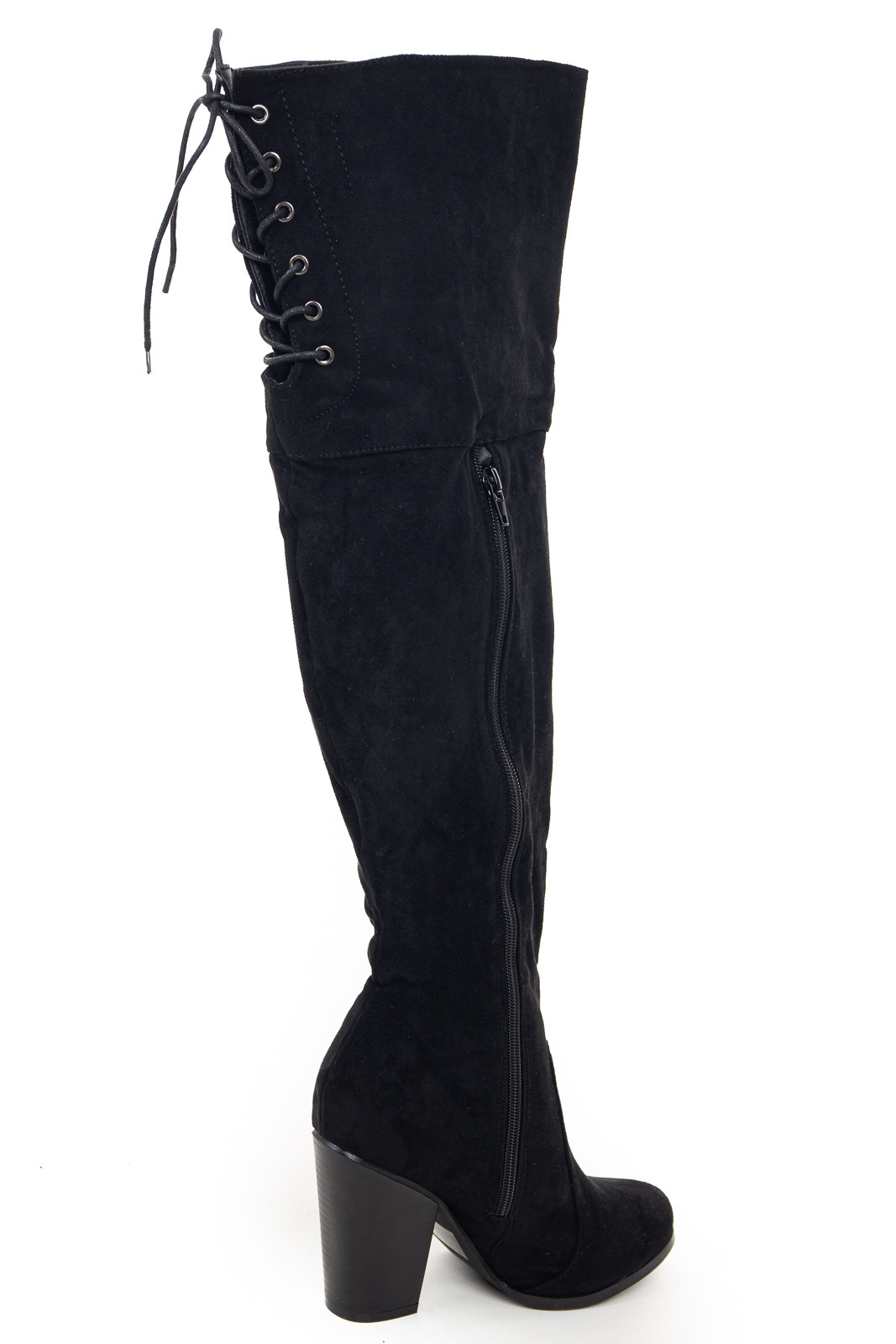 Black Over the Knee High Boots with Lace Up Back Detail